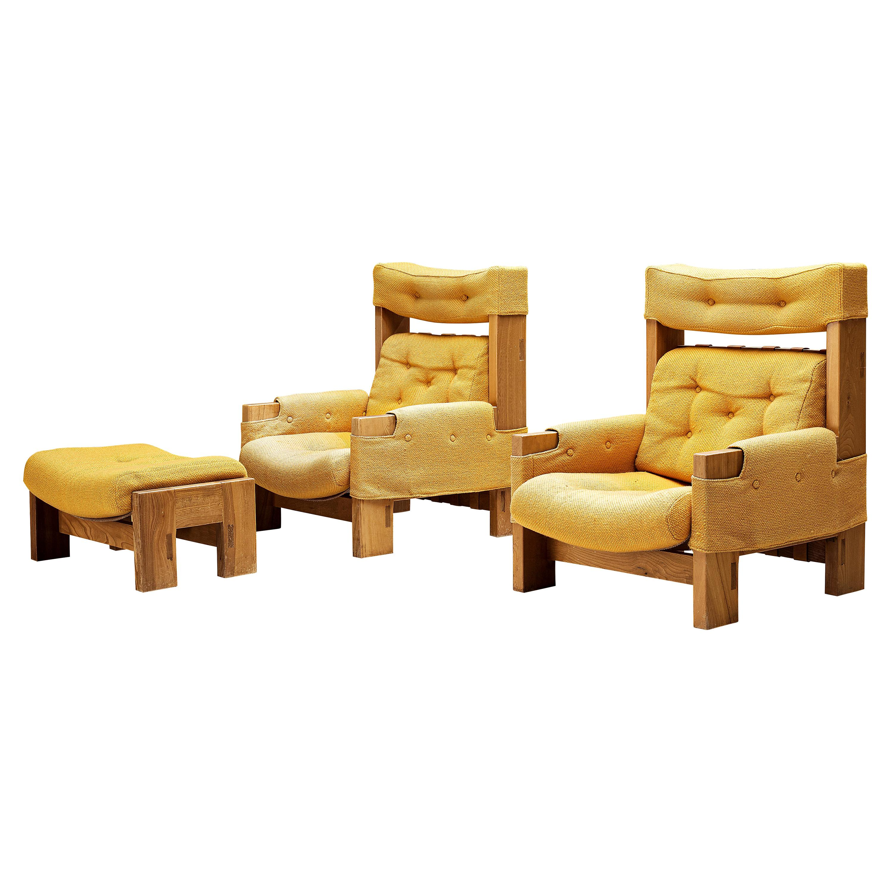 Maison Regain Pair of Lounge Chairs in Elm