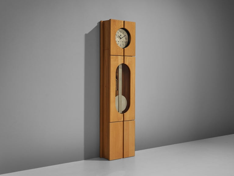 Maison Regain, grandfather clock, elm, metal, France, 1970s