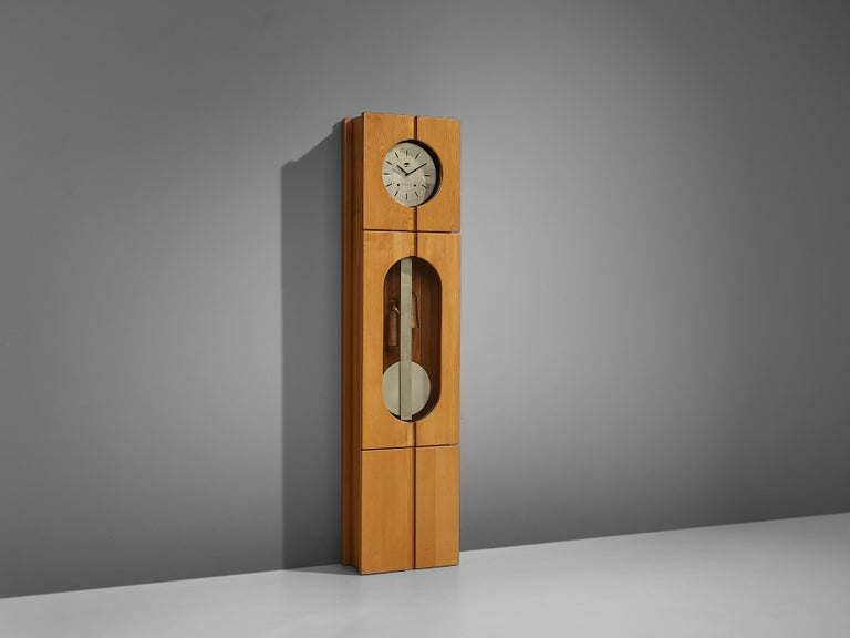 Mid-Century Modern Maison Regain Sculptural Grandfather Clock in Solid Elm For Sale