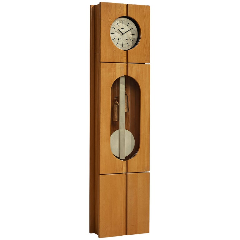 Maison Regain Sculptural Grandfather Clock in Solid Elm For Sale