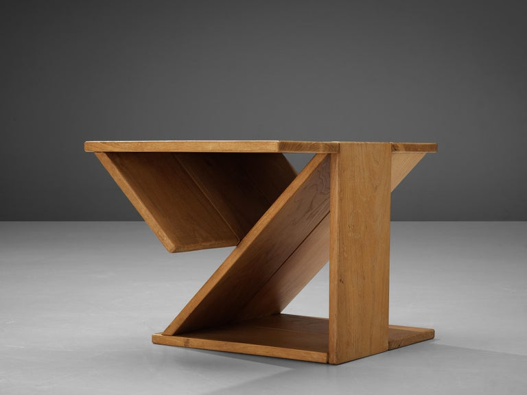French Maison Regain Sculptural Side Table in Solid Elm For Sale
