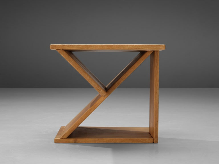 Mid-20th Century Maison Regain Sculptural Side Table in Solid Elm For Sale