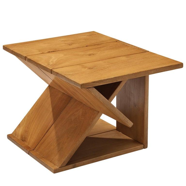 Maison Regain Sculptural Side Table in Solid Elm For Sale