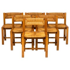 Maison Regain, Series of Six Chairs in Elm and Straw, 1960's