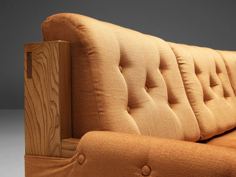 Mid-Century Modern Maison Regain Sofa in Elm and Orange Fabric Upholstery For Sale