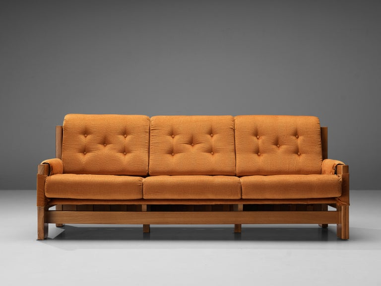 French Maison Regain Sofa in Elm and Orange Fabric Upholstery For Sale