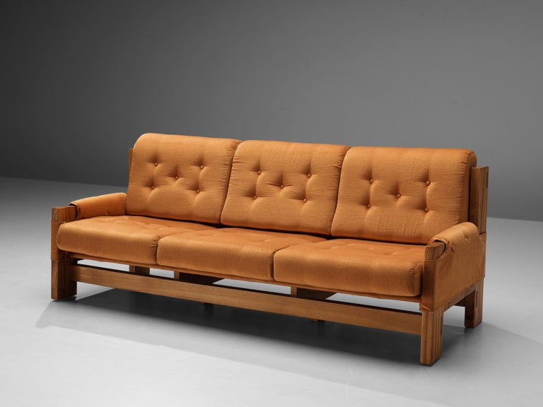 Mid-20th Century Maison Regain Sofa in Elm and Orange Fabric Upholstery For Sale