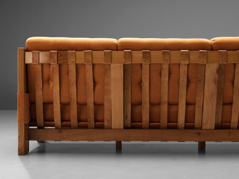 Maison Regain Sofa in Elm and Orange Fabric Upholstery For Sale 2