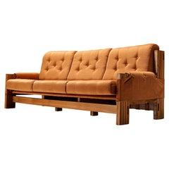 Maison Regain Sofa in Elm and Orange Fabric Upholstery