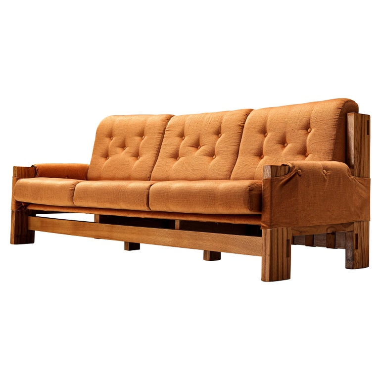 Maison Regain Sofa in Elm and Orange Fabric Upholstery For Sale