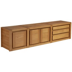 Maison Regain Wall-Mounted Sideboard with Drawers in Solid Elm