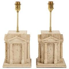 Maison Romeo 'att.' Travertine Roman Temple Shaped Table Lamps, France, 1970s