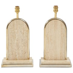Maison Romeo, Attributed Travertine Roman Temple Shaped Table Lamps, France