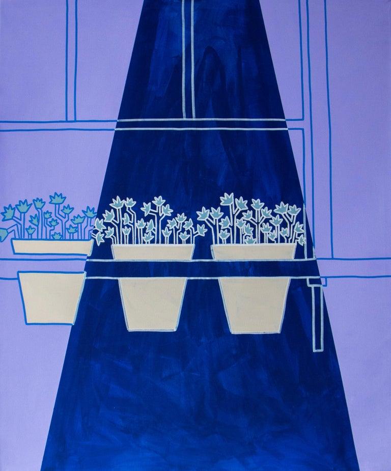 Maite Pereda  Still-Life Painting - purple summer, Acrylic on canvas, 120cm x 100cm, 2021