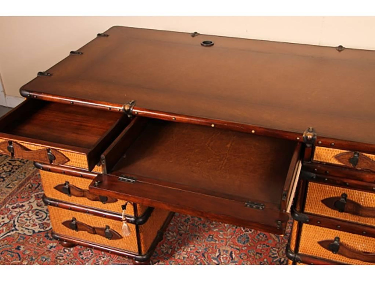 Maitland Smith Three Part Rattan Desk In The Form Of Travel Trunk At 1stdibs