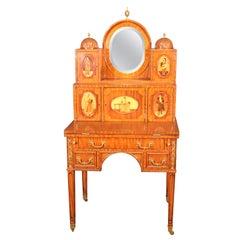 Maitland Smith Attributed Inlaid Walnut Venetian Style Secretary Desk