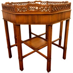 Maitland Smith Style Bamboo Form Octagonal End or Side Table with Bevelled Glass
