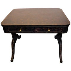 Maitland-Smith Black Agate Pen Shell Writing Table Desk
