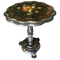 Maitland Smith Black French Victorian Floral Painted Pedestal Accent Side Table