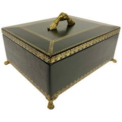 Maitland Smith Black Leather Footed Box