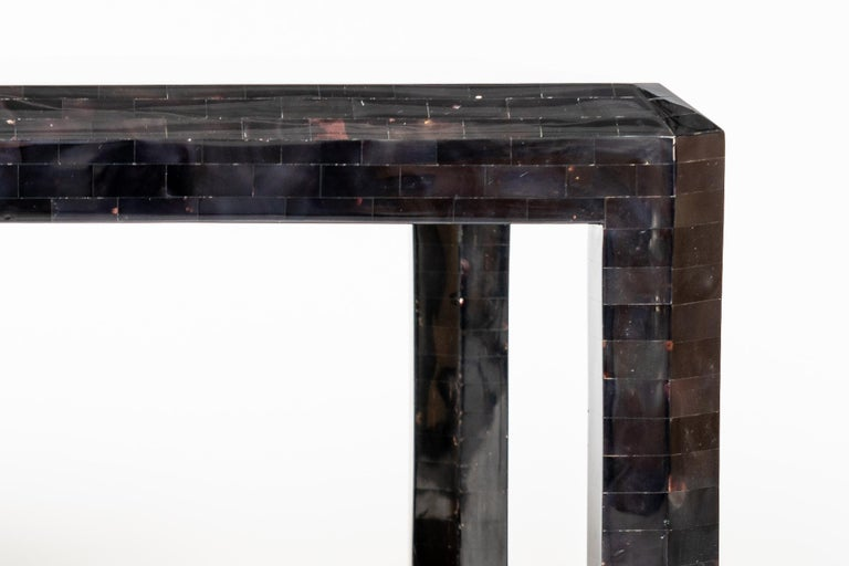 American Maitland Smith Black Shell Side Table with Brass Inlay For Sale