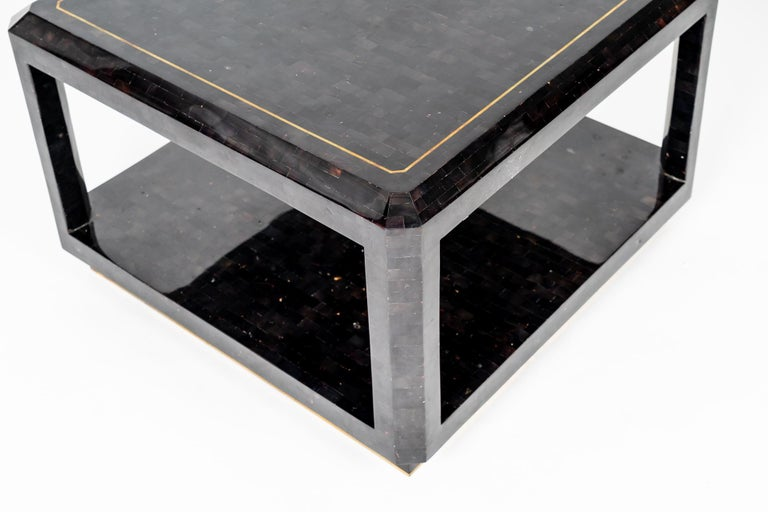 Maitland Smith Black Shell Side Table with Brass Inlay For Sale 2