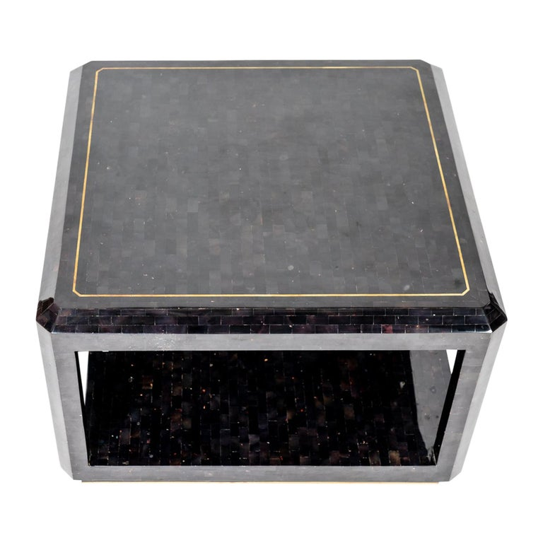 Maitland Smith Black Shell Side Table with Brass Inlay For Sale