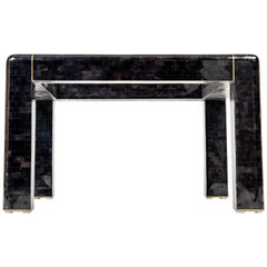Maitland Smith Black Shell Side Table with Brass Inlay