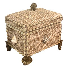Maitland-Smith Box with Shells and Brass Feet