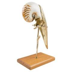 Maitland-Smith Brass and Sea Shell Parrot Bird Sculpture