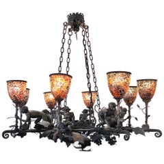 "Maitland Smith Bronze ""Monkey"" Chandelier with Penn Shell Shades"