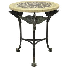 Maitland Smith Bronze Regency Swan Mosaic Lacquer Round Occasional Side Table