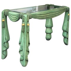 Maitland Smith Carved Wood Green Drape Console Table