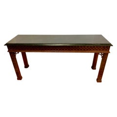 Maitland Smith Chinese Chippendale Carved Mahogany Console Table