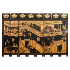 Maitland Smith Chinese Eight Panel Lacquered Coromandel Screen