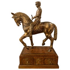 Maitland Smith Civil War Sculpture, General on Horse, Complete Three-Drawer Box