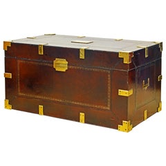 Maitland Smith Colonial Campaign Style Leather Trunk or Coffee Table