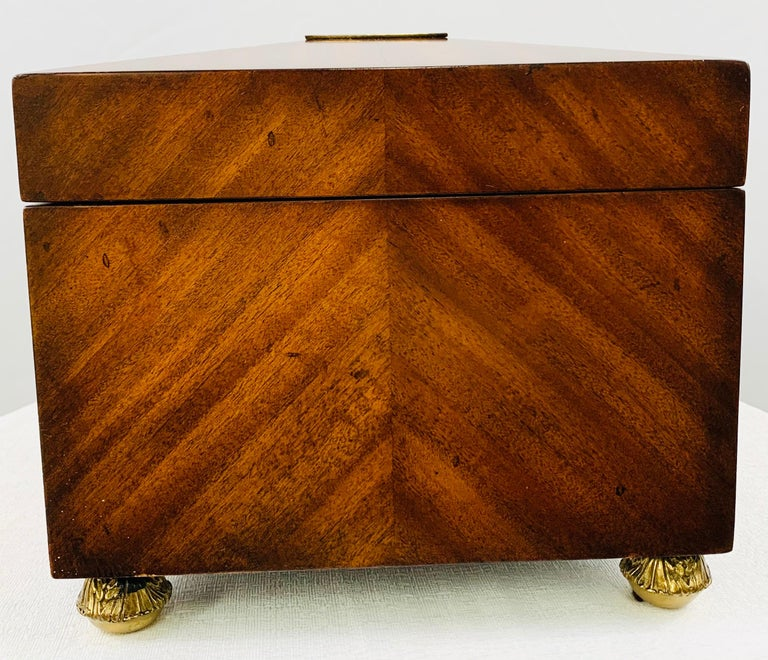 Maitland Smith Decorative Mahogany Wood Box with Brass Trim For Sale 7