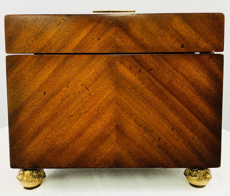 Maitland Smith Decorative Mahogany Wood Box with Brass Trim For Sale 11