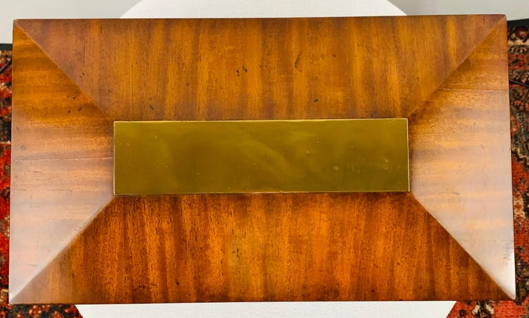 Hollywood Regency Maitland Smith Decorative Mahogany Wood Box with Brass Trim For Sale