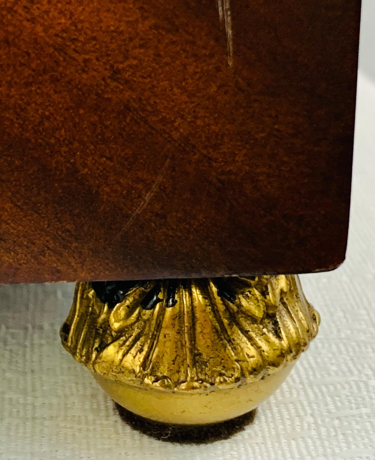 Late 20th Century Maitland Smith Decorative Mahogany Wood Box with Brass Trim For Sale