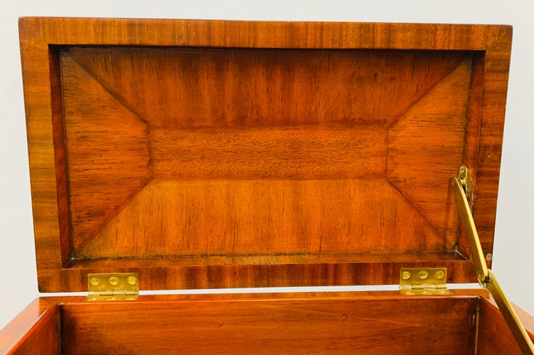 Maitland Smith Decorative Mahogany Wood Box with Brass Trim For Sale 3