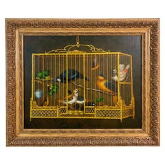 Maitland Smith Decorative Painting of Birds in a Cage
