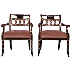 Maitland Smith Ebonized and Gold Gilt Regency Style Armchairs, Pair