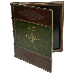 Maitland Smith Embossed Leather Book Motif Double Photograph Frame