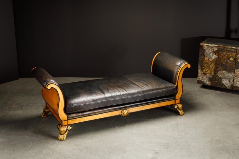 Maitland Smith Empire Revival Style Gilt Wood and Leather Clawfoot Daybed For Sale 15