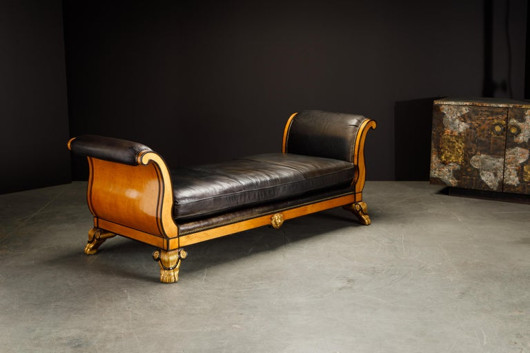 Philippine Maitland Smith Empire Revival Style Gilt Wood and Leather Clawfoot Daybed For Sale