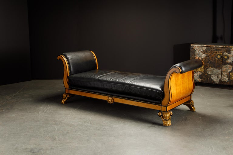 20th Century Maitland Smith Empire Revival Style Gilt Wood and Leather Clawfoot Daybed For Sale