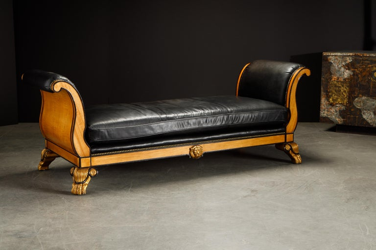 Maitland Smith Empire Revival Style Gilt Wood and Leather Clawfoot Daybed For Sale 1