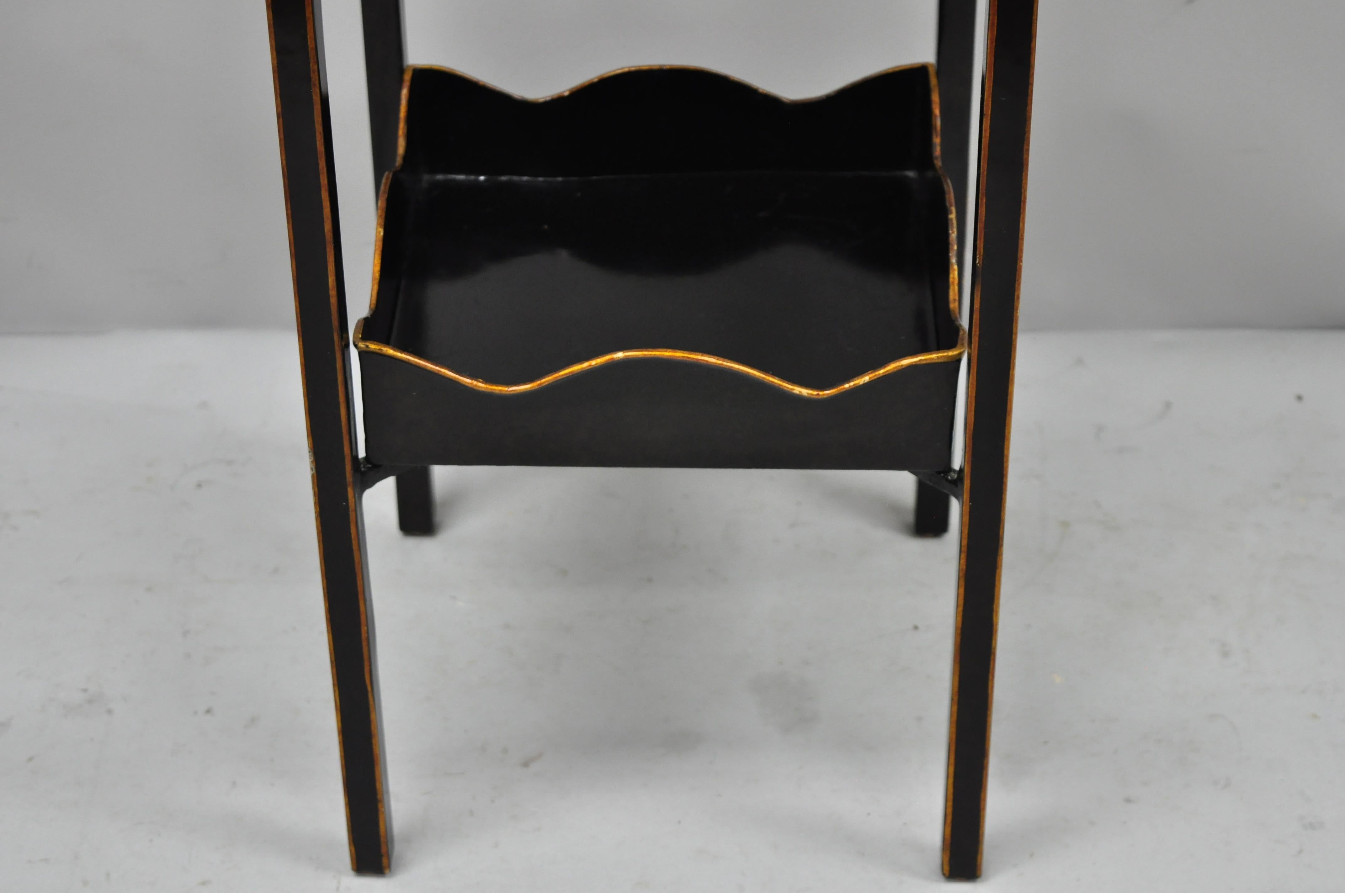 Maitland Smith Inlaid Marble Top Wrought Iron Plant Stand